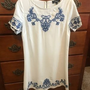 White Shift Dress with Blue Embroidery